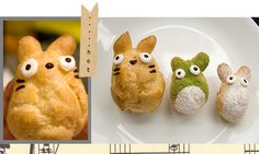 totoro cream puff    http://www.annathered.com/2009/04/07/how-to-make-totoro-cream-puffs/