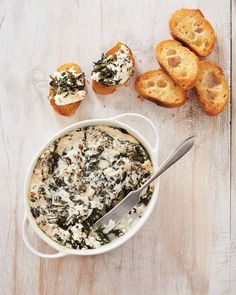 Perfect Bite: Spinach Dip 2.0 | Martha Stewart Living - While they huddle around this creamy spinach dip, guests won't even realize it's a healthier take on a classic recipe -- it's that good!