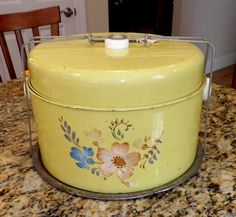 Fabulous bright yellow vintage metal cake and pie carrier, by NJNansAntiques, $20.00, on Etsy