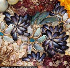 really pretty shell mosaic! Seashell Art, Seashell Crafts, Beach Crafts, Mosaic Glass, Glass Art, Stained Glass, Sea Glass, Shell Flowers, Mosaic Art Projects