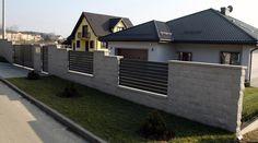 Turza Śląska - Horizon Boundary Walls, Front Door Entrance, Driveway Gate, Garden Fencing, Fence Design, Garden Projects, Future House, Bungalow, Townhouse