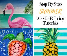 See a collection of summer paintings. These ideas give you inspiration for your summer art! Learn how to do these easy canvas summer paintings at home! Kids Canvas Art, Easy Canvas Painting, Summer Painting, Acrylic Painting Tutorials, Acrylic Painting Canvas, Painting For Kids, Diy Painting, Canvas Wall Art, Canvas Paintings