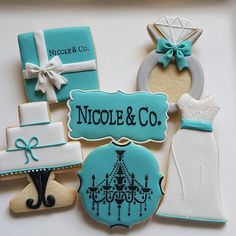 Custom cookies by Jil Tiffany Co Party Ideas, Tiffany Theme, Azul Tiffany, Tiffany Wedding, Blue Cookies, Fancy Cookies, Custom Cookies, Cupcake Cookies, Sugar Cookies