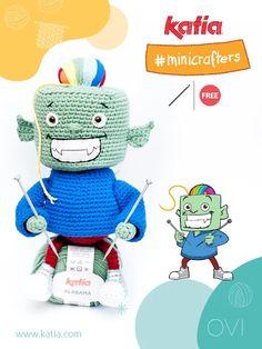 Défi Amigurumi Katia Minicrafters : crochetez Lana & Ovi Mini, Alabama, Teddy Bear, Halloween, Toys, Animals, Free, Amigurumi Patterns, Activity Toys