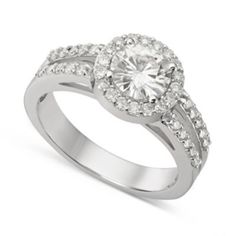 Forever Brilliant Moissanite 14K White Gold 1.40 DEW Round Cut Halo Ring  Evine.com