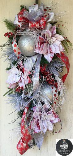 Christmas wreath poinsettia wreath floral by MrsChristmasWorkshop