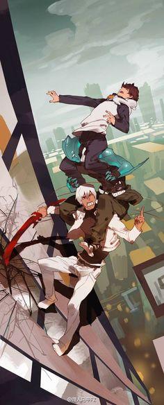 Kekkai Sensen | Blood Blockade Battlefront | Libra: Leonardo Watch, Sonic Speed Monkey, Zed O'Brien, Zapp Renfro | Anime | Fanart | SailorMeowMeow
