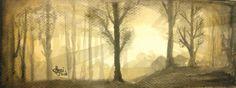 Harinarayan Sreenivasan Watercolor Painting. Landscape, Nature Art - Sunrise