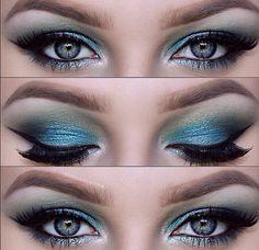 Blue, turquoise, green eyeshadow.