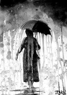 """Rain"" by Loui Jover. This is to painting what onomatopoeia is to words.  The paint looks like it's been rained on."