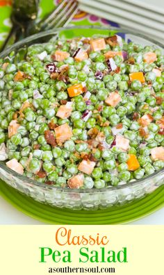 Classic Pea Salad is a cool delicious side dish perfect to serve any time of year. Made with frozen sweet peas bacon. Pea Salad Recipes, Pea Recipes, Potluck Recipes, Cooking Recipes, Easter Recipes, Dinner Recipes, Summer Recipes, Yummy Vegetable Recipes, Healthy Recipes