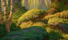 Animation Backgrounds moss rocks forest trees exterior environment day