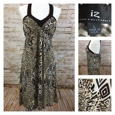 Animal Print Leopard Halter Sun Dress Brown Cream IZ Byer California Size Large #ByerCalifornia #Sundress