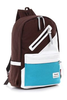 Casual Color Block Canvas Paneled Backpack
