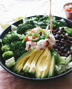 "fitnessgenji: "" eye-of—the-storm: "" vegan-yums: "" Black bean broccoli avocado salad + cumin lime tahini dressing / Recipe "" Making this tomorrow! Think Food, I Love Food, Whole Food Recipes, Cooking Recipes, Clean Eating, Healthy Eating, Healthy Food, Vegetarian Recipes, Healthy Recipes"