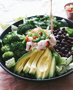 Black bean, broccoli and avocado salad with cumin/lime/tahini dressing (vegan)