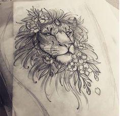 Image result for lion flower tattoo