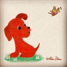 #nationaldogday . . . . #puppy #puppylove #picturebookillustration #picturebookart #illustration #kidslitart #characterdesign #red #redpuppy #butterfly #designforkids #alisabloom #childrenspicturebook #creative