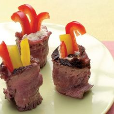 Steak (or deli roast beef) wrapped around cheese and red bell peppers.