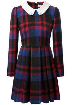 Red Lapel Long Sleeve Woolen Plaid Dress - abaday.com
