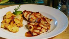 Grilled chicken breast fillet with marinade from dijon mustard and raspberry vinegar with molasses sauce garnished with fried potatoes with fresh herbs. Greek Recipes, Wine Recipes, Chicken Breast Fillet, Fried Potatoes, Fresh Herbs, Grilled Chicken, Vinegar, Proposal, Mustard