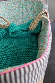 liberty fabric lined moses basket for baby