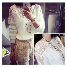 New Casual Crochet malha camisolas Pullovers inverno as mulheres atam Patchwork Mohair Tops Ladies blusa vestuário feminino bz852684(China (Mainland))