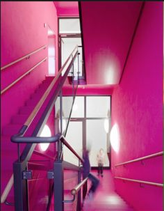 Hot pink stairwell!  Maybe not for everyone