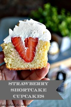 Recipe for Strawberry Shortcake Cupcake - A dense sweet pound cake filled with a whole strawberry and topped with a whip cream frosting. Your own mini strawberry shortcake!
