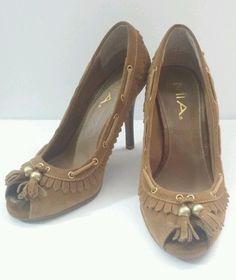 469815404ed4 MIA Brown Suede Leather Peep Toe High Heels w Tassels