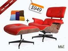 MLF® High Quality Reproduction Of Eames Lounge Chair U0026 Ottoman In. Red  Aniline
