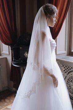 Elise - Dotted lace fingertip wedding veil, polka dots wedding veil by HoneyPieBridal