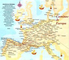 """Il """"Caminos de Europa"""" mappa per giungere a Santiago de Compostela con allegata l'orazione del pellegrino."""