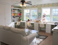school room - love how it incorporates the couch...real comfy living space combines with learning.  instead of having a game room for the kids