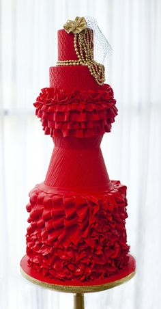 Fashion Inspired Red Ruffles - Published Cake Central Magazine September 2012