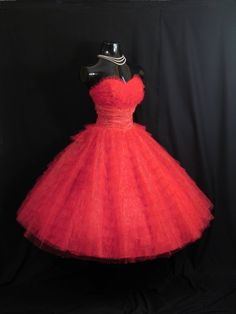 Vintage 1950's 50s Bombshell STRAPLESS RED by VintageVortex, $349.99