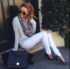Love. White skinnies with light sweater and scarf