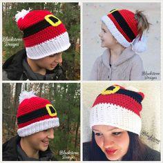 Santa Slouch crochet pattern from Blackstone Designs Slouch, Beanie, or Messy Bun hat, all options in this pattern! #crochet #messybunhat #slouchy #beanie #santahat #christmas