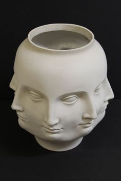 Fornasetti Style White TMS Multiple Faces Head Centerpiece Art Vase Have always wanted one!
