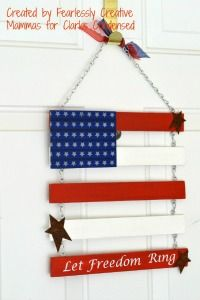 Independence Day Door Flag - easy to make and could vary with string and scrap wood