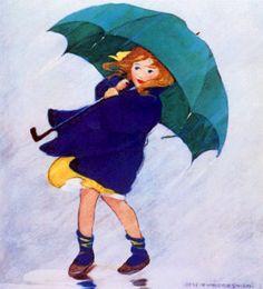 GIRL IN RAIN UMBRELLA - public domain clip art image