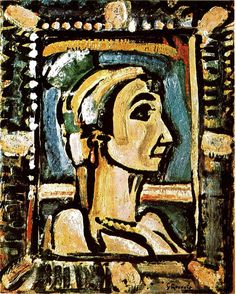 Georges #Rouault (1871–1958), La Fille du Cirque, 1939, oil on paper laid down on panel, 25x20in, Christie's. from Impressionist Paintings, Drawings and Sculpture Apollo (Archive 1925-2005)99.149 (Jul 1, 1974) 28-29.