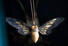 black-gold cicada pendantfiberart soft sculpture