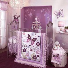 Crib Bedding For Girls Decor 5 Piece Set Purple Butterfly Nursery Boutique Baby #LambsIvy