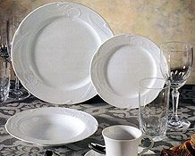 Classy and clean white china like this White Rose china from Celebrity China. You can click the image link to call them today about your wedding registry. Image credit: Celebrity China Facebook.