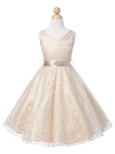 Champagne Lovely Lace V-Neck Flower Girl Dress (Available in Sizes 4-16 in 6…