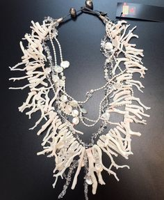 white Coral with Pearls and Crystals by gretchenschields on Etsy