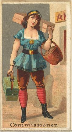 "The ""Occupations for Women"" series of trading cards was issued by Goodwin & Company in 1887 to promote Old Judge and Dogs Head Cigarettes. The Metropolitan Museum of Art owns all 50 cards in the series, as well as three duplicate cards Vintage Photographs, Vintage Images, Fancy Dress Ball, Cigarette Brands, Sewing Cards, Female Reference, Vintage Postcards, Vintage Ephemera, Vintage Circus"