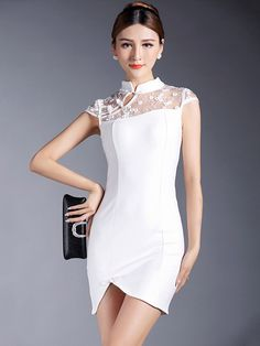Verity's dress for the black and white ball (Bodycon Qipao / Cheongsam Dress with Lace Yoke) Dance Dresses, Sexy Dresses, Beautiful Dresses, Short Dresses, Dance Outfits, Bridal Dresses, Traditional Fashion, Traditional Dresses, Traditional Chinese