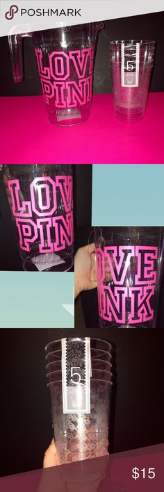 "NEW ""LOVE PINK"" PITCHER WITH 5 NEW TUMBLER CUPS! BRAND NEW 1.5LITER ""LOVE PINK"" PITCHER . CLEAR PLASTIC GREAT FOR A PARTY OR EVERY DAY USE! COMES WTH 5 BRAND NEW 13oz. CLEAR FLORAL PRINT PLASTIC TUMBLER CUPS. Custom made;) You save on Bundles on all listings! Accessories Tablet Cases"